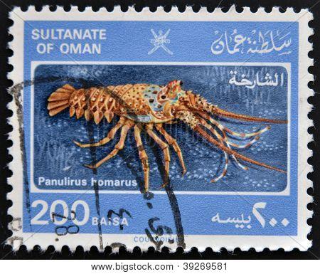 SULTANATE OF OMAN - CIRCA 1980: A stamp printed in Oman shows a panulirus homarus circa 1980