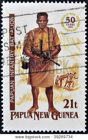 PAPUA NEW GUINEA - CIRCA 1992: A stamp printed in Papua shows papuan infantry battalion circa 1992