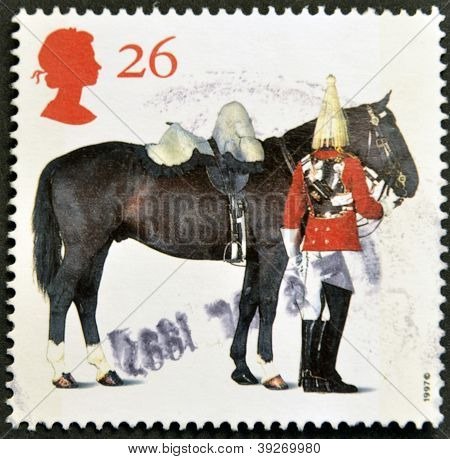 UNITED KINGDOM - CIRCA 1997: A stamp printed in Great Britain shows Lifeguards Horse and Trooper cir