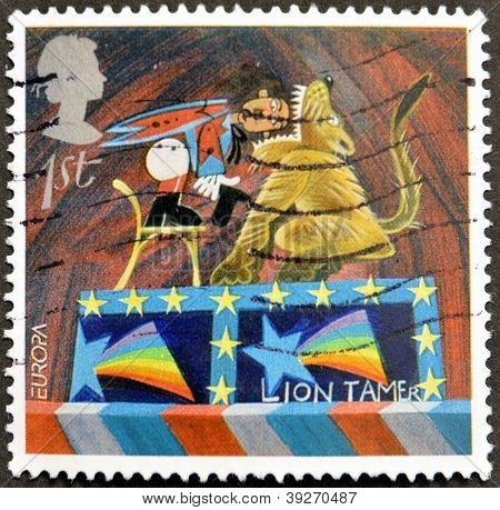 UNITED KINGDOM - CIRCA 2002: A stamp printed in Great Britain dedicated to circus shows Lion Tamer c
