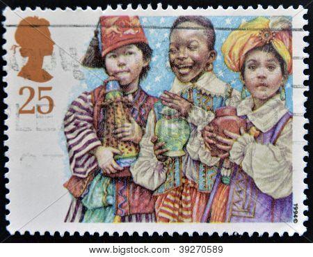 UNITED KINGDOM - CIRCA 1994: A Stamp printed in Great Britain showing Three Kings Nativity Scene cir