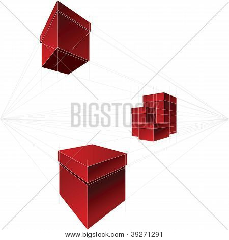 Vector Red Gift Boxes In Two-point Perspective