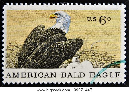 UNITED STATES OF AMERICA - CIRCA 1969: A Stamp printed in USA shows american blad eagle circa 1969