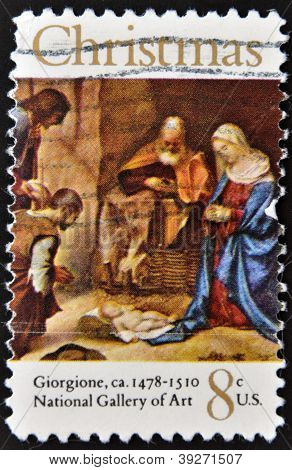 UNITED STATES OF AMERICA - CIRCA 1971: A stamp printed in USA shows painting Adoration of the Shephe