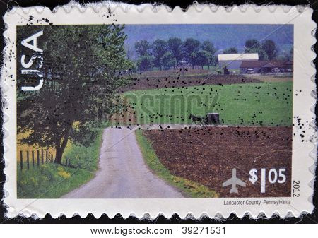 UNITED STATES OF AMERICA - CIRCA 2012: A stamp printed in USA shows Lancaster county Pennsylvania ci