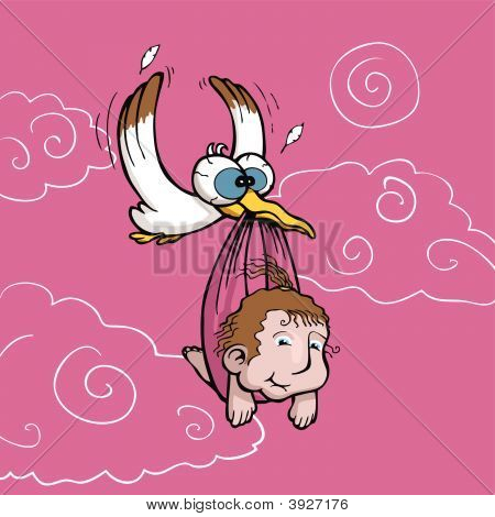 Stork Carrying Newborn Baby