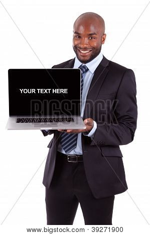 African Amercian Business Man Showing A Laptop Screen