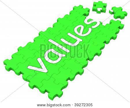Werte Puzzle zeigt Grundsätze und Moral