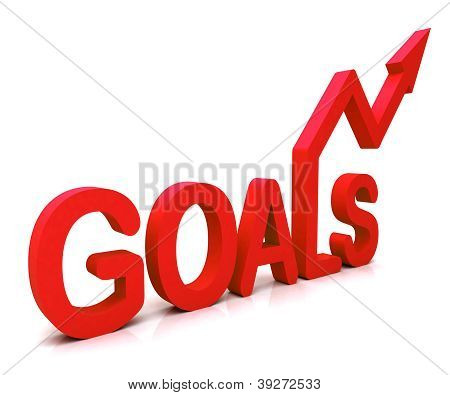 Red Goals Word Shows Objectives Hope And Future