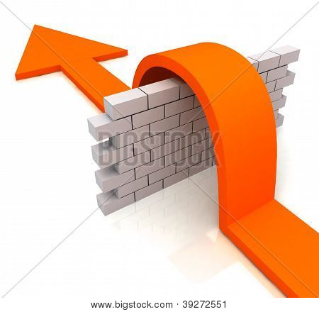 Orange Arrow Over Wall Means Overcome Obstacles
