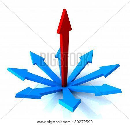 Red Vertical Arrow Shows Path Chosen