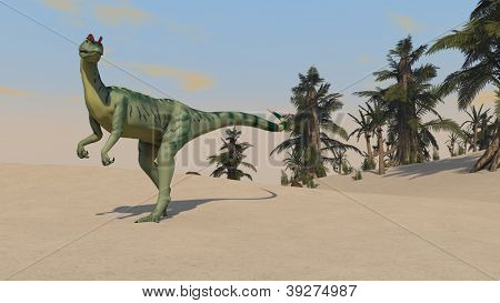 dilophosaurus on sand terrain