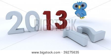3D Render of a Cute Blue Bird Character  bringing in the new year