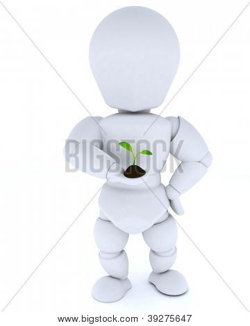 3D render of a man nurturing a  seedling plant