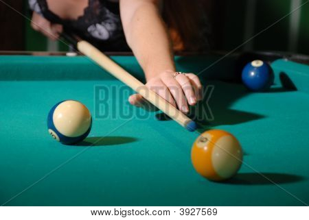 Billiard Balls On Table And Cue Aimed