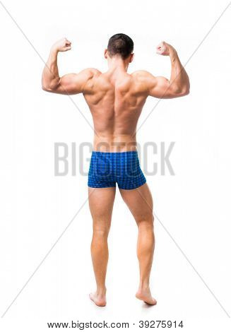 muscular male back isolated on a white background