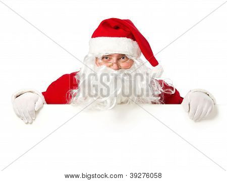 Santa Claus Behind Blank White Sign