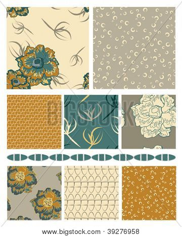 Floral Vector Seamless Patterns and trim.  Use as fills, backgrounds or digital paper.  Would look great printed onto fabric.