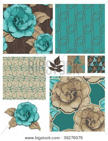 Camellia Japonica Vector Floral Seamless Patterns and Icons.  Use as fills for digital paper, wallpaper or print onto fabric for unique home furnishings.