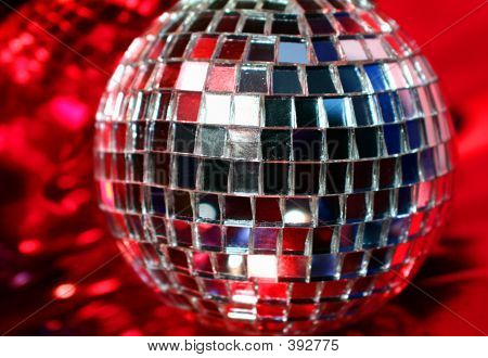 Mirror Disco Globe - Isolated On Red