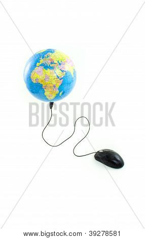 Mouse connected to globe viewing Africa, Europe and Middle East