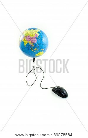 Mouse connected to black globe viewing China and Oceania