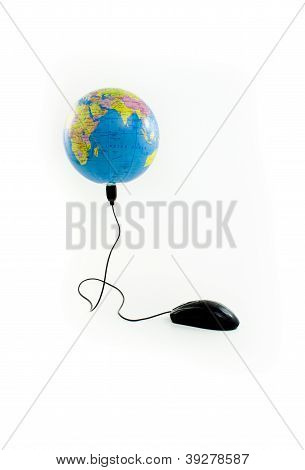Mouse connected to globe viewing the Indian Ocean
