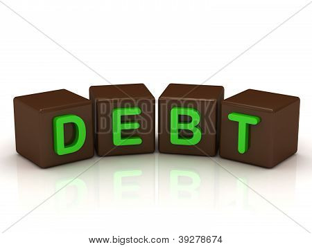 Debt Inscription Bright Green Letters