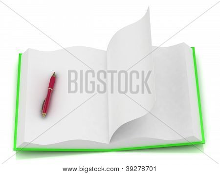 Open Notepad Green With A Red Pen