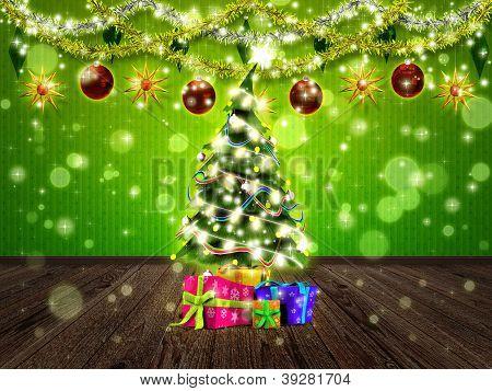 Weihnachten-Interieur mit Tanne