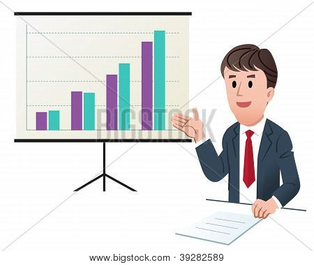 Businessman Making Presentation With Increasing Sales Graph