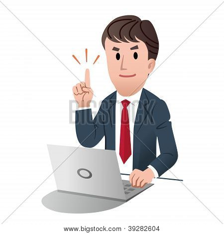 Smiling Confident Businessman Pointing Up With Index Finger