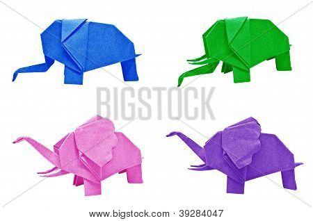 Multi Color Origami Elephant
