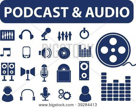 podcast & audio signs, icons set, vector