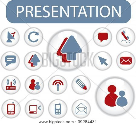 presentation buttons, signs, icons set, vector