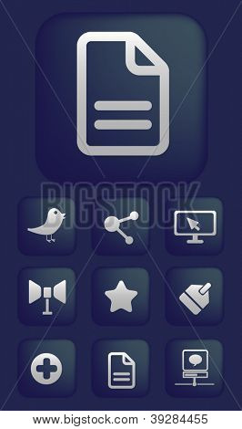 social media, mobile applications, buttons, signs, icons set, vector