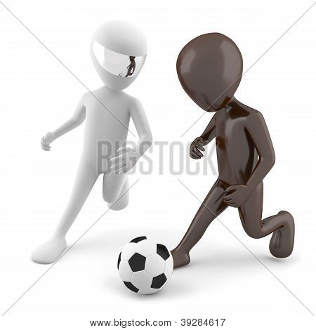 Two 3D Man Playing Football. 3D Image. On A White Background
