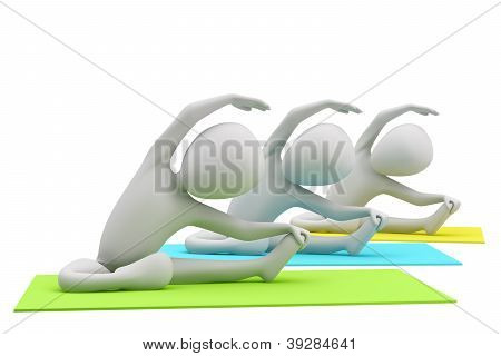 3D Group Of People Doing Yoga Exercises. 3D Image. On A White Background