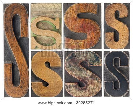 letter S - 7 isolated vintage letterpress wood type blocks with ink patina, variety of fonts