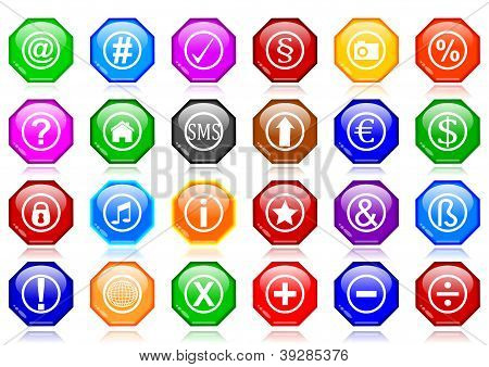 Many different colorful icons as octagons