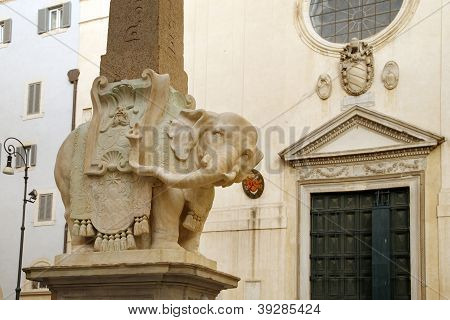 Obelisk Of Santa Maria Minerva By Bernini In Rome,