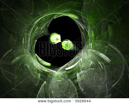 Green Drops - Fractal Background