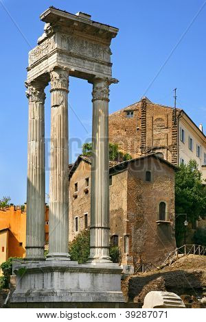 Temple Of Apollo Sosiano - Ruins By Teatro Di Marcello, Rome - Italy