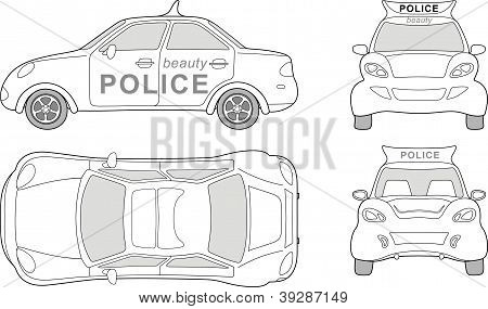 Beauty police car (outlined top, side, back, front view)