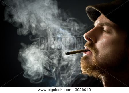 Bearded Man Smoking