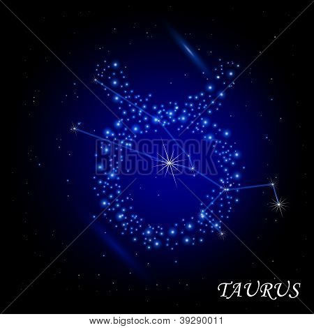 Sign of the zodiac - Taurus. Composed of stars.