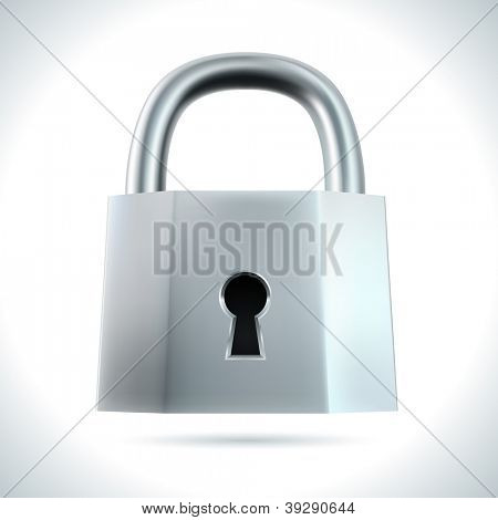 Metal padlock isolated on white background vector illustration.