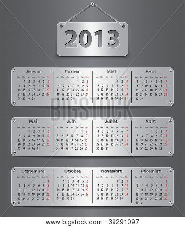 2013 Calendar In French