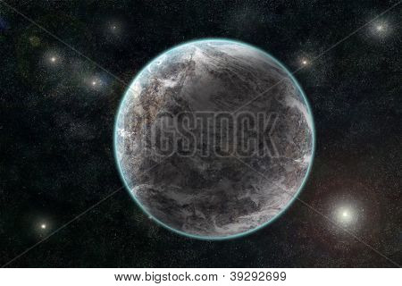 New Planetary System, Abstract Cosmic Background With Planets And Stars