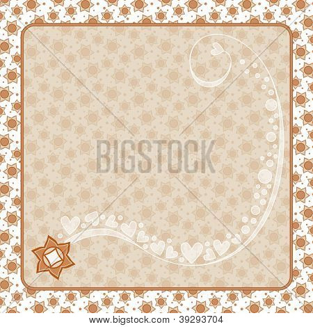 Romantic background with flowers, curl and hearts
